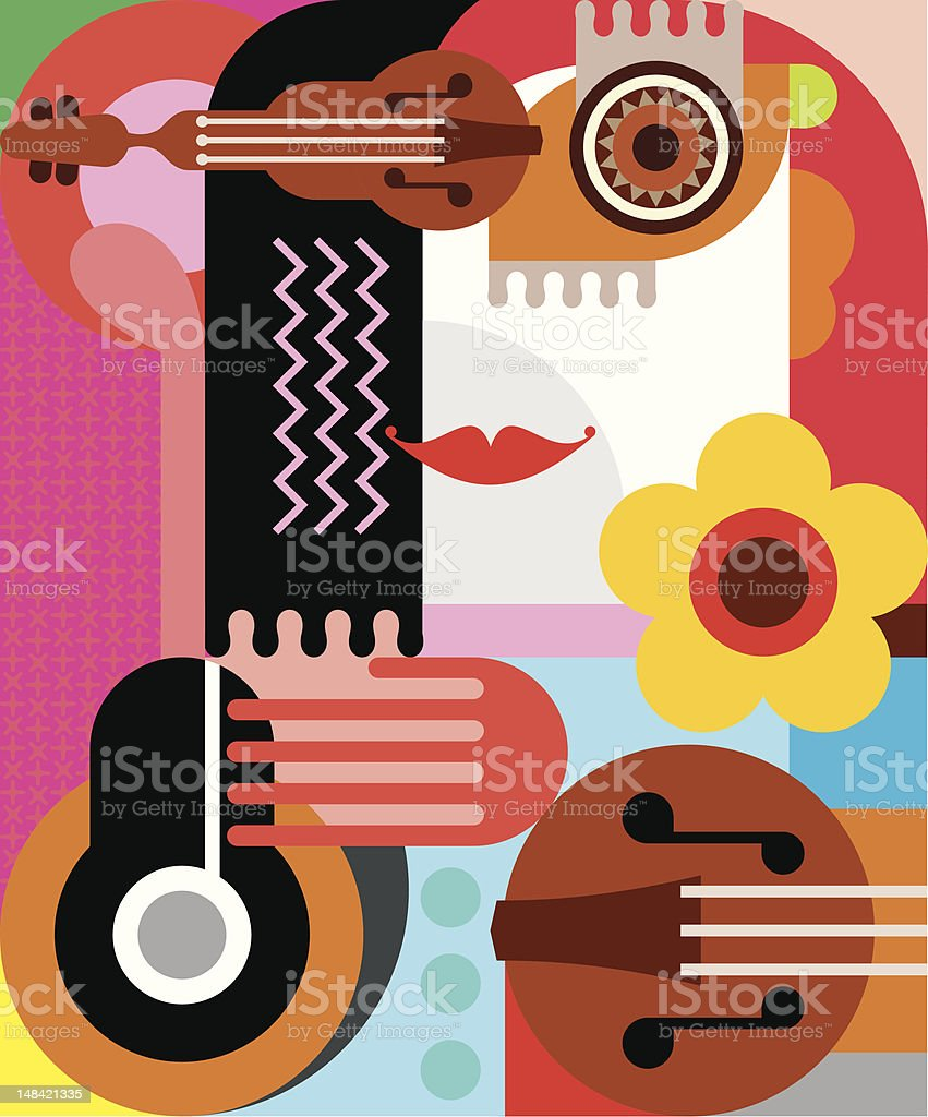 Abstract portrait of a woman vector art illustration
