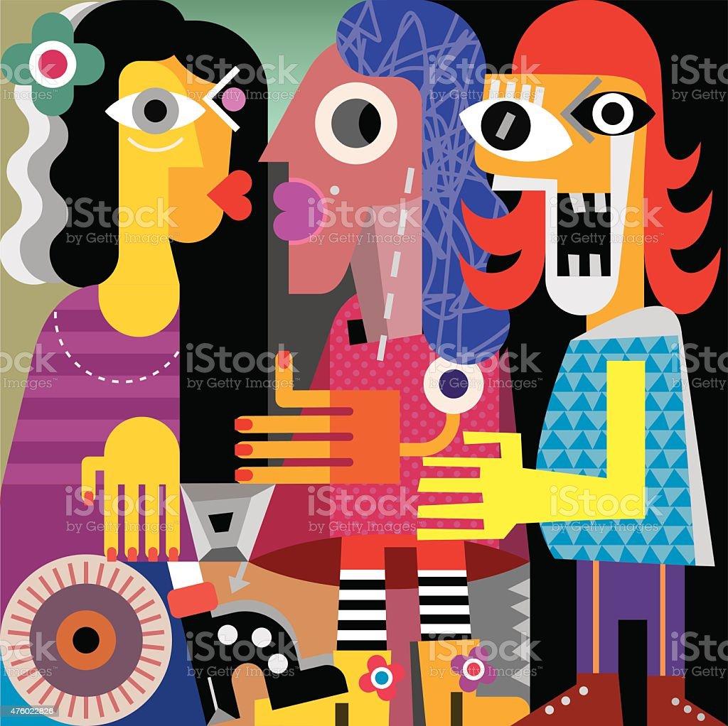 Abstract portrait of three women vector art illustration