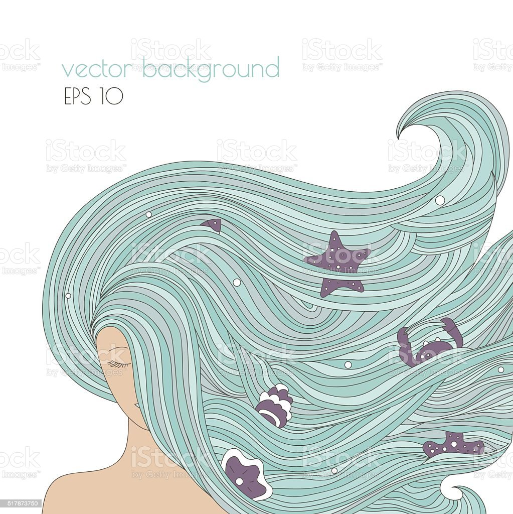 Abstract portrait of woman with long blue beautiful hair. vector art illustration