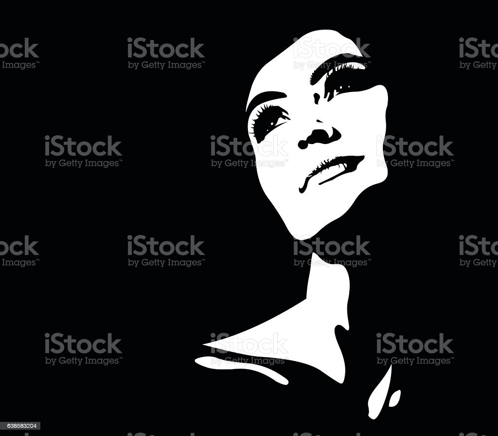 Abstract portrait of young pensive happy illuminated woman looking up vector art illustration