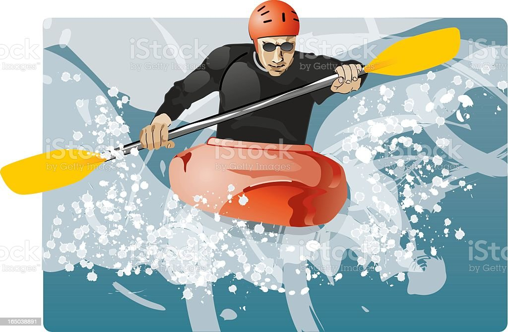 Abstract poster of kayaker rowing against stormy sea vector art illustration