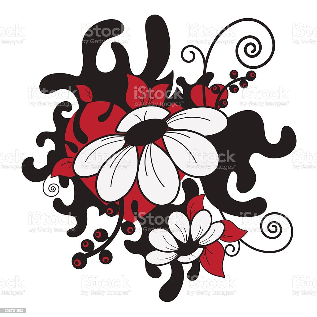 Abstract print with daisies and hearts. Tattoo. Vector illustration royalty-free stock vector art