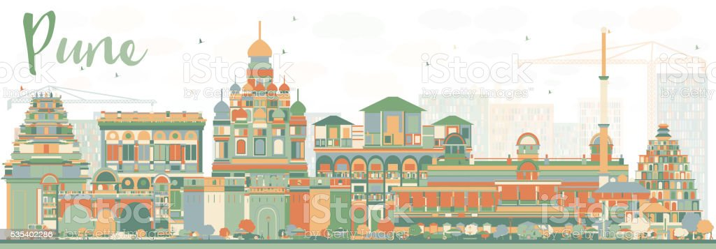 Abstract Pune Skyline with Color Buildings. vector art illustration