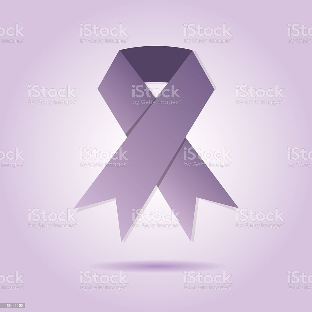 Abstract purple ribbon on purple gradient background vector art illustration