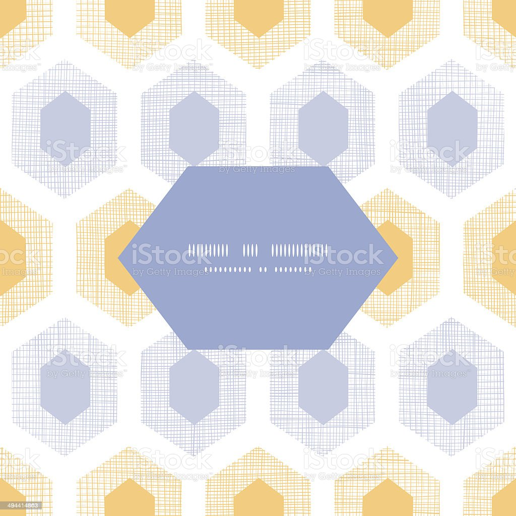 Abstract purple yellow honeycomb fabric textured frame seamless pattern background royalty-free stock vector art