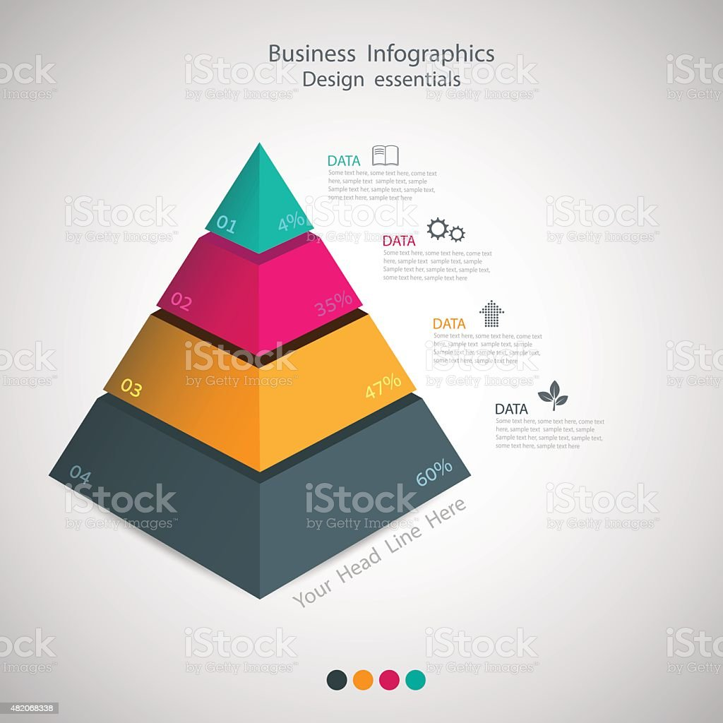 abstract Pyramid type infographic elements. vector vector art illustration