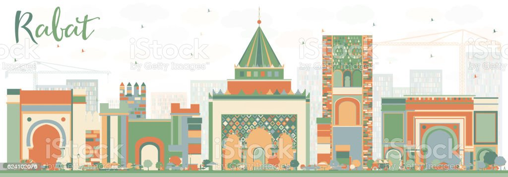 Abstract Rabat Skyline with Color Buildings. vector art illustration