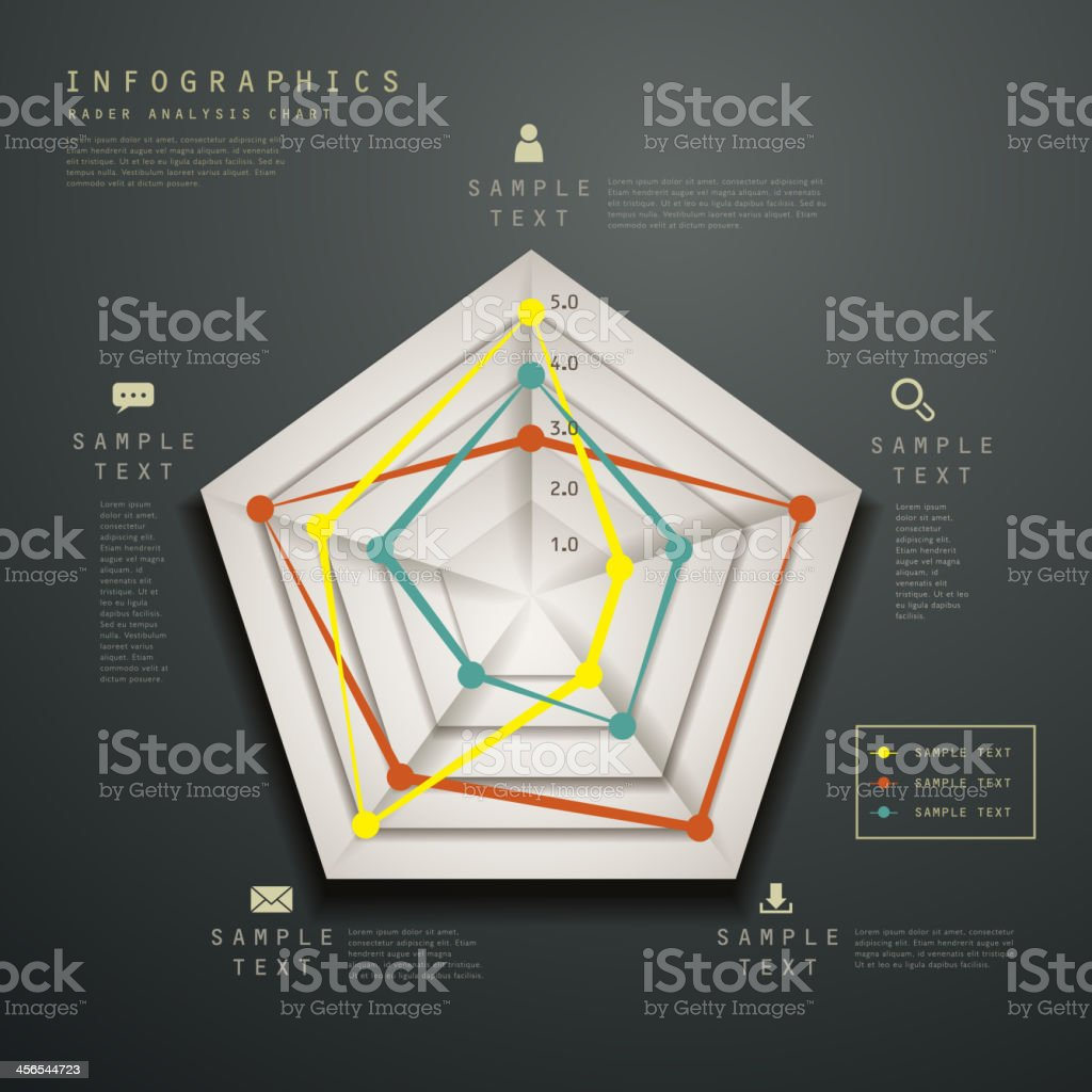 abstract radar chart infographics vector art illustration