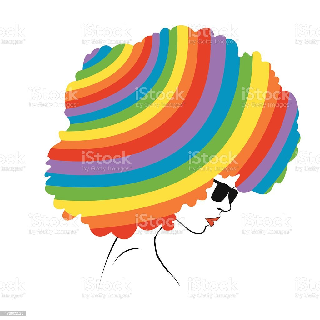 abstract  rainbow hair - Illustration royalty-free stock vector art