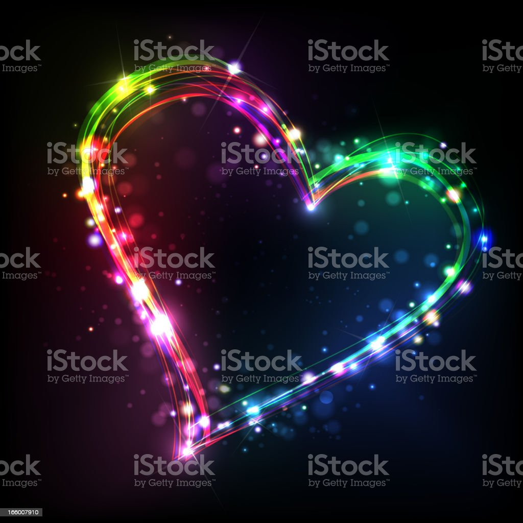 Abstract rainbow heart on a black background royalty-free stock vector art