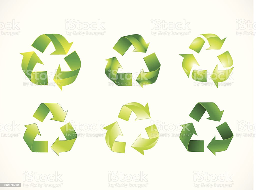 abstract recycle bin set royalty-free stock vector art