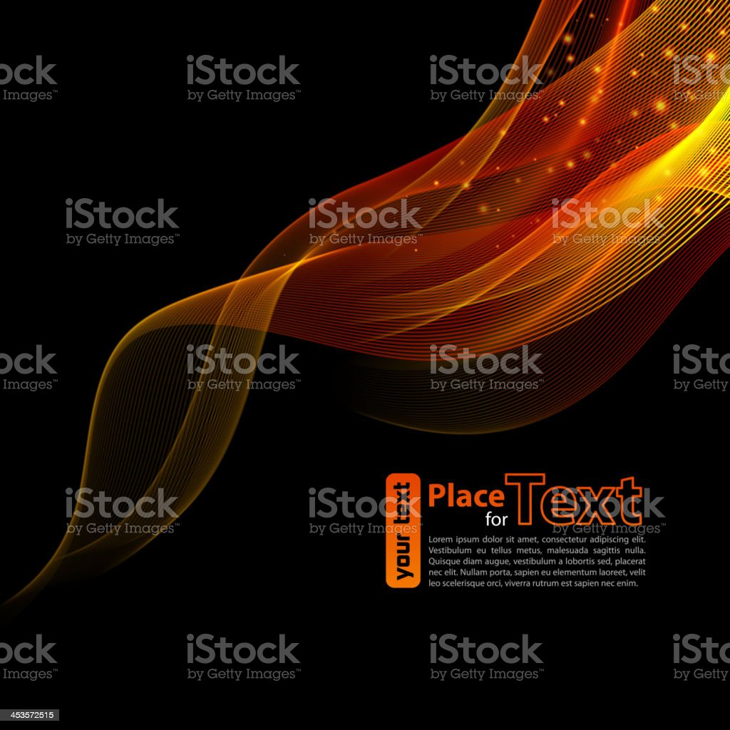 Abstract red and gold wave design on black background vector art illustration