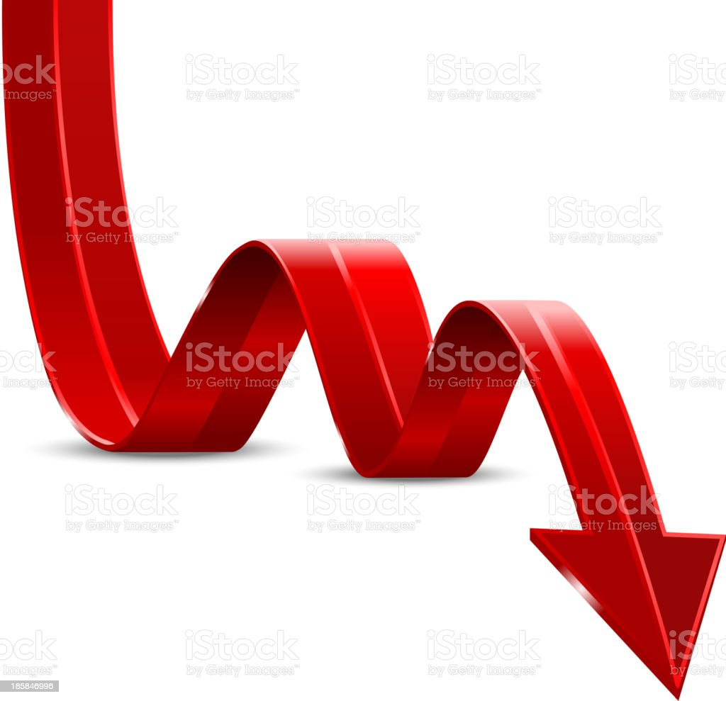 Abstract Red Arrow Down vector art illustration