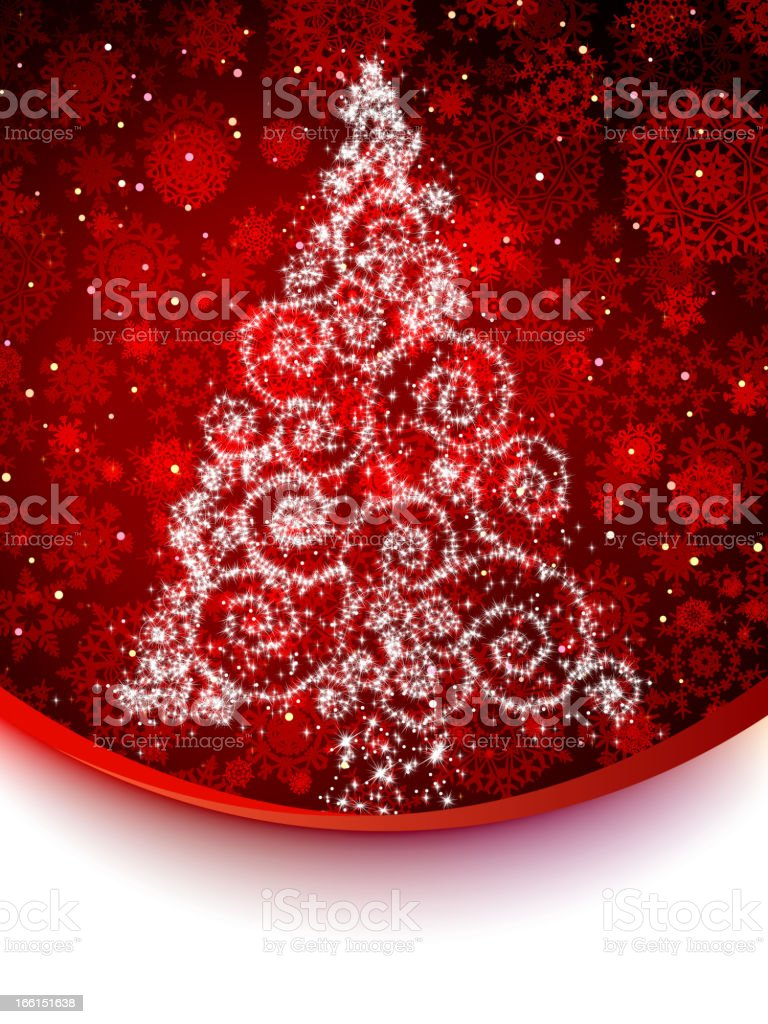 Abstract red card with christmas tree. EPS 8 royalty-free stock vector art