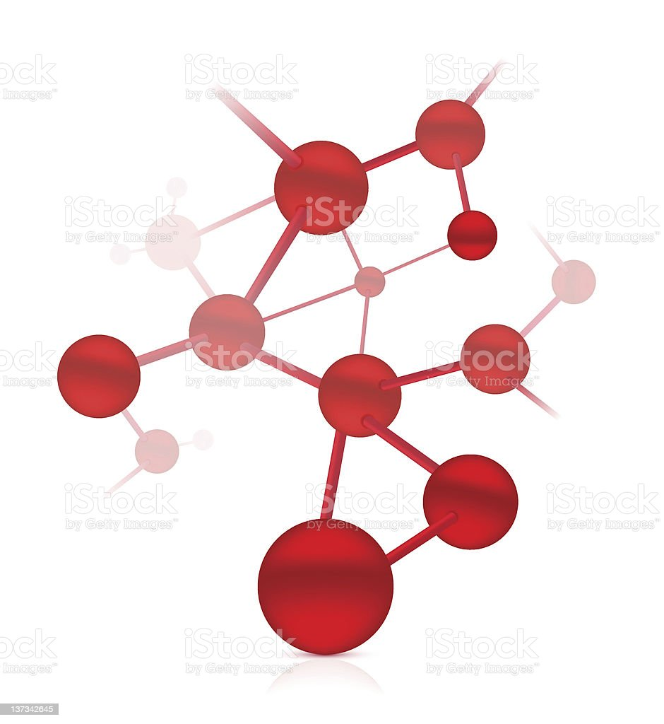 Abstract red DNA molecule image vector art illustration