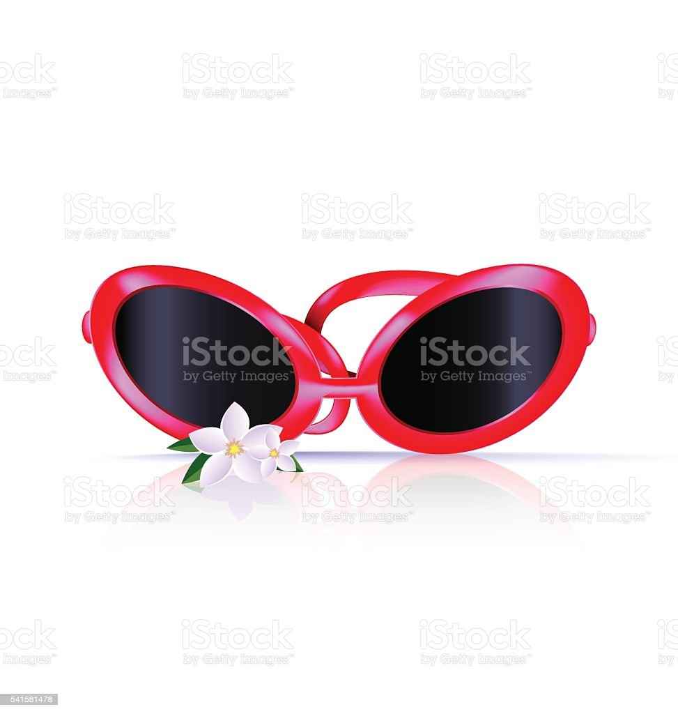 abstract red eyeglasses vector art illustration