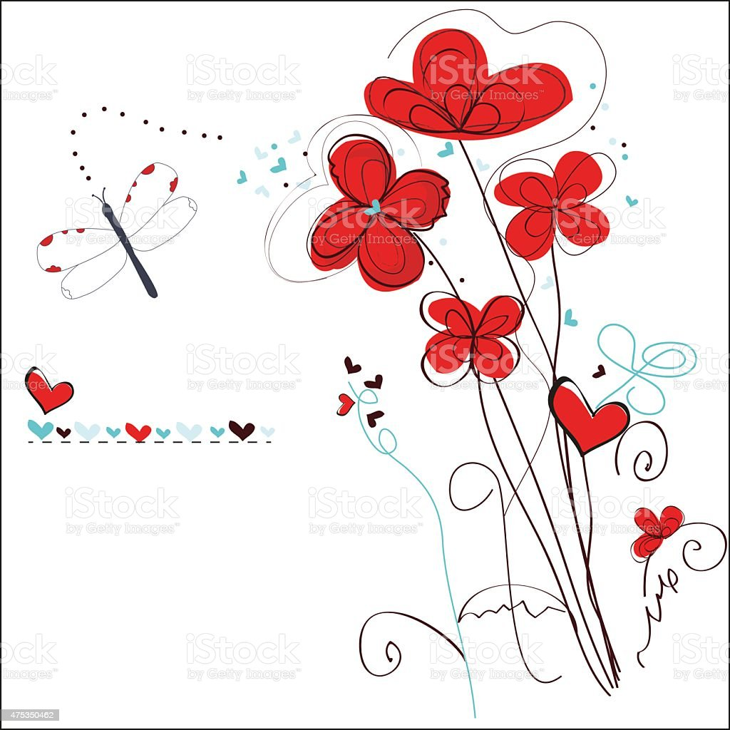 Abstract red floral doodle greeting card vector art illustration