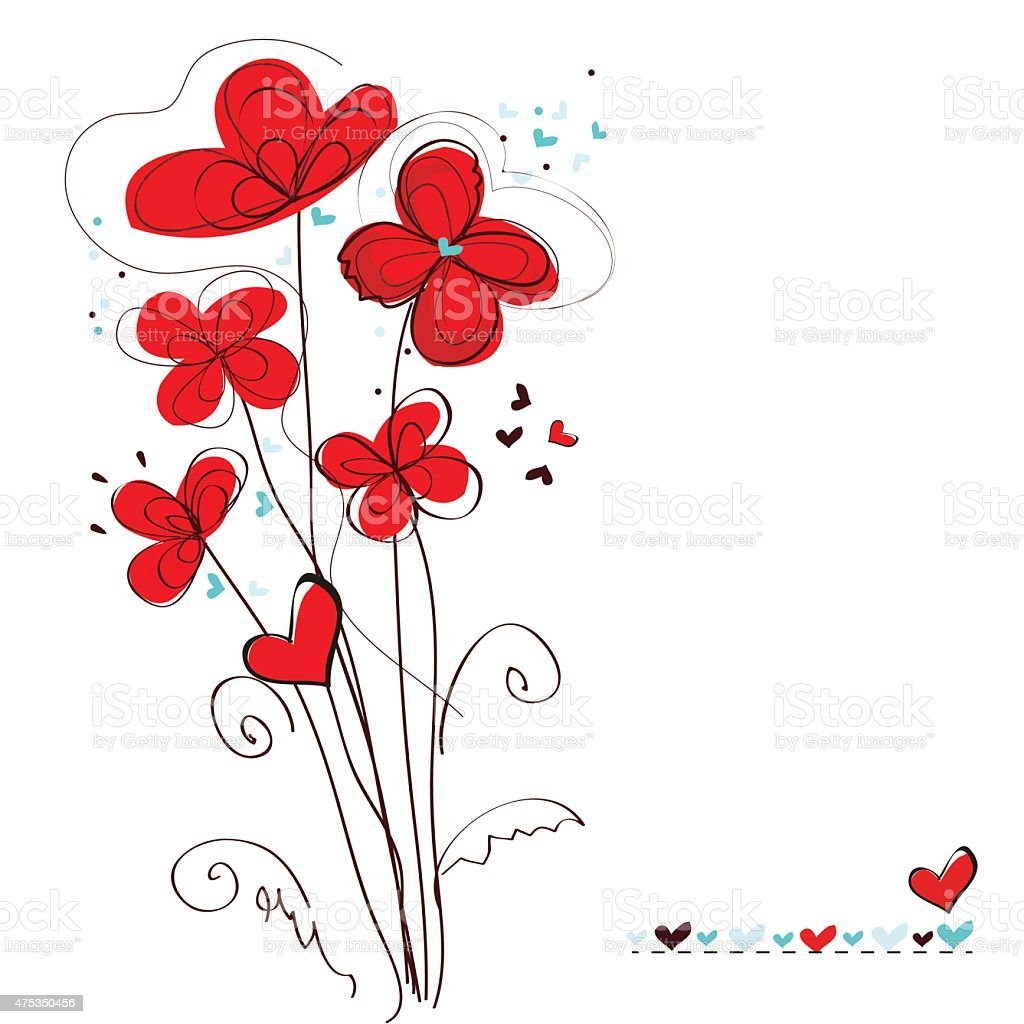 Abstract red floral greeting card vector art illustration