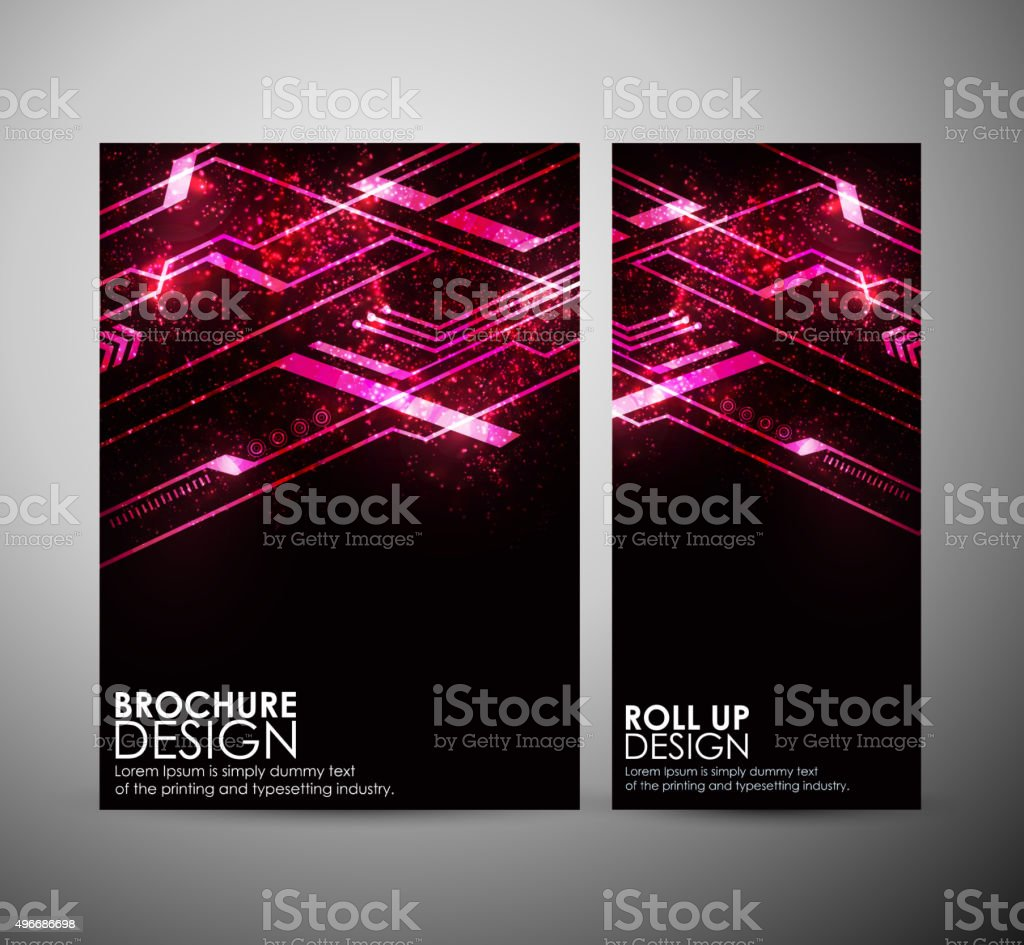 Abstract red hi-tech brochure business design template or roll up. vector art illustration