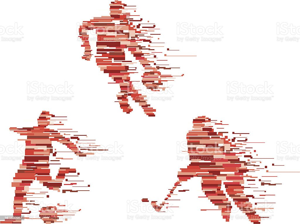 Abstract red silhouettes of people playing sports royalty-free stock vector art