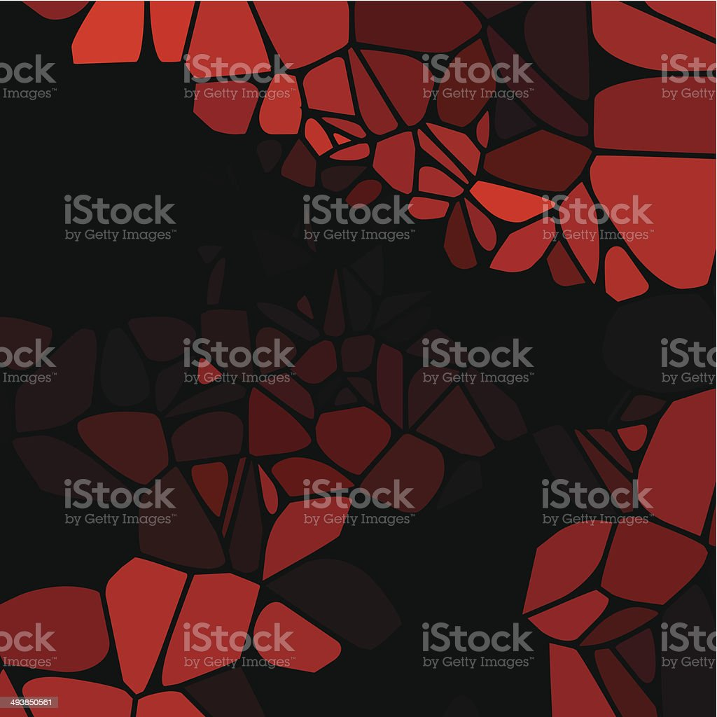 abstract red speckle shape with black background vector art illustration