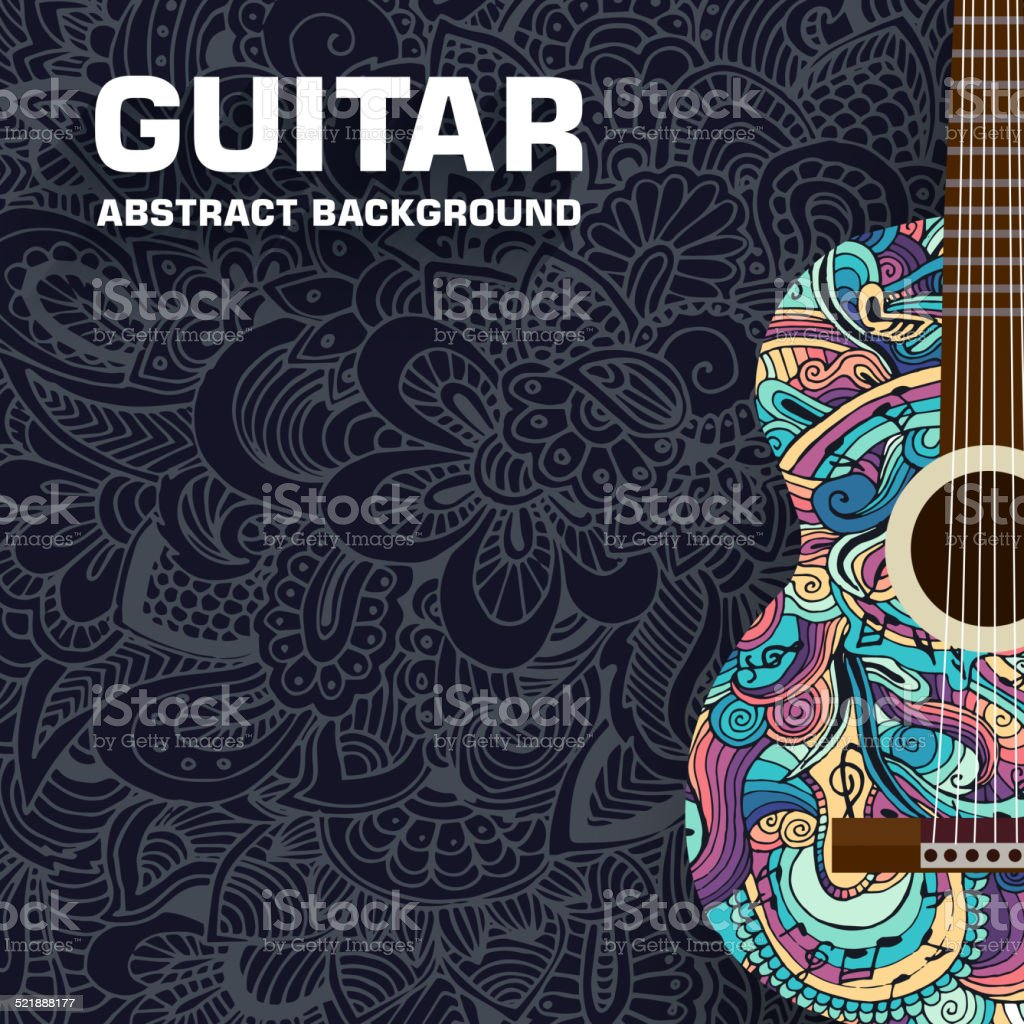 Abstract retro music guitar on the background of the ornament vector art illustration