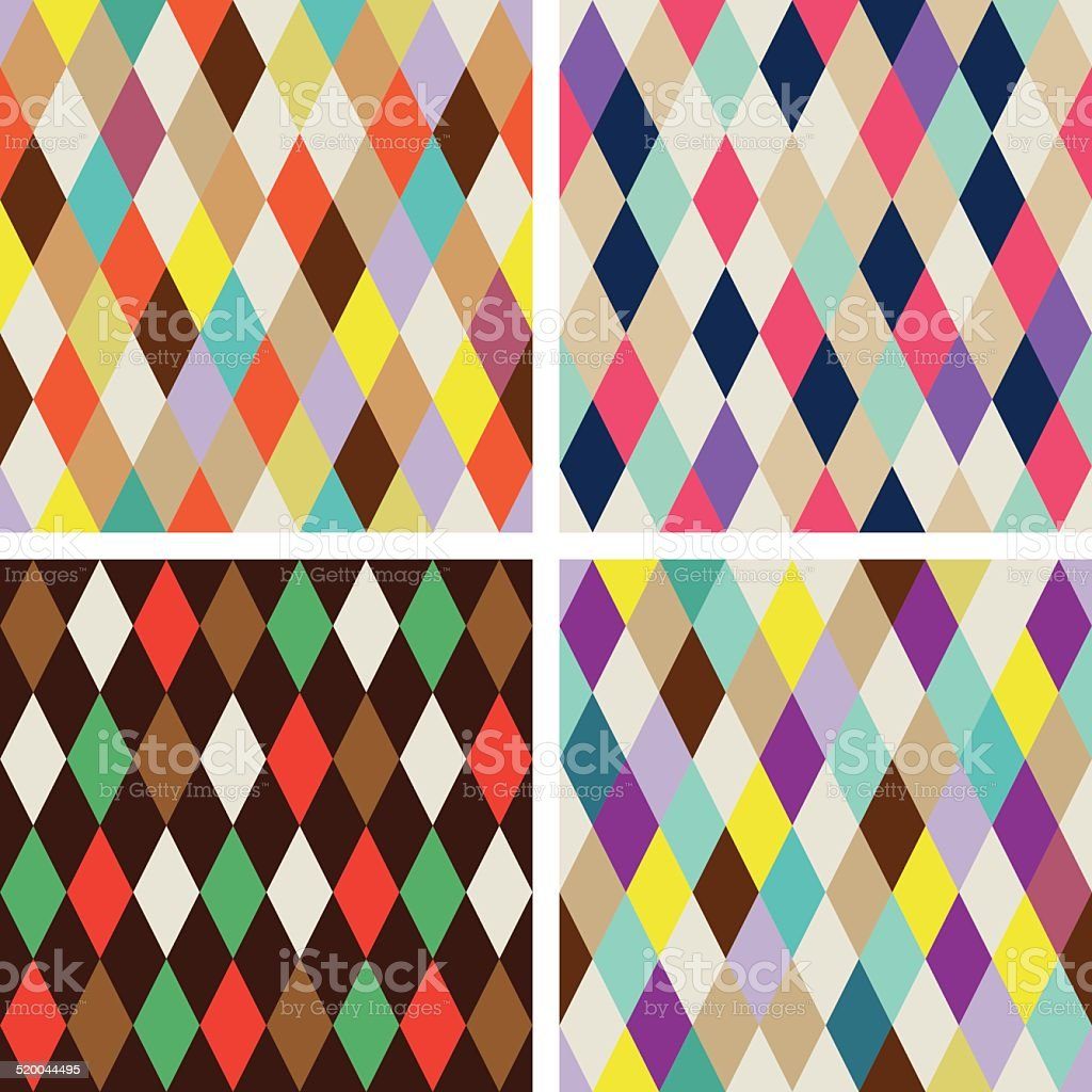 Abstract rhombus seamless patterns vector art illustration