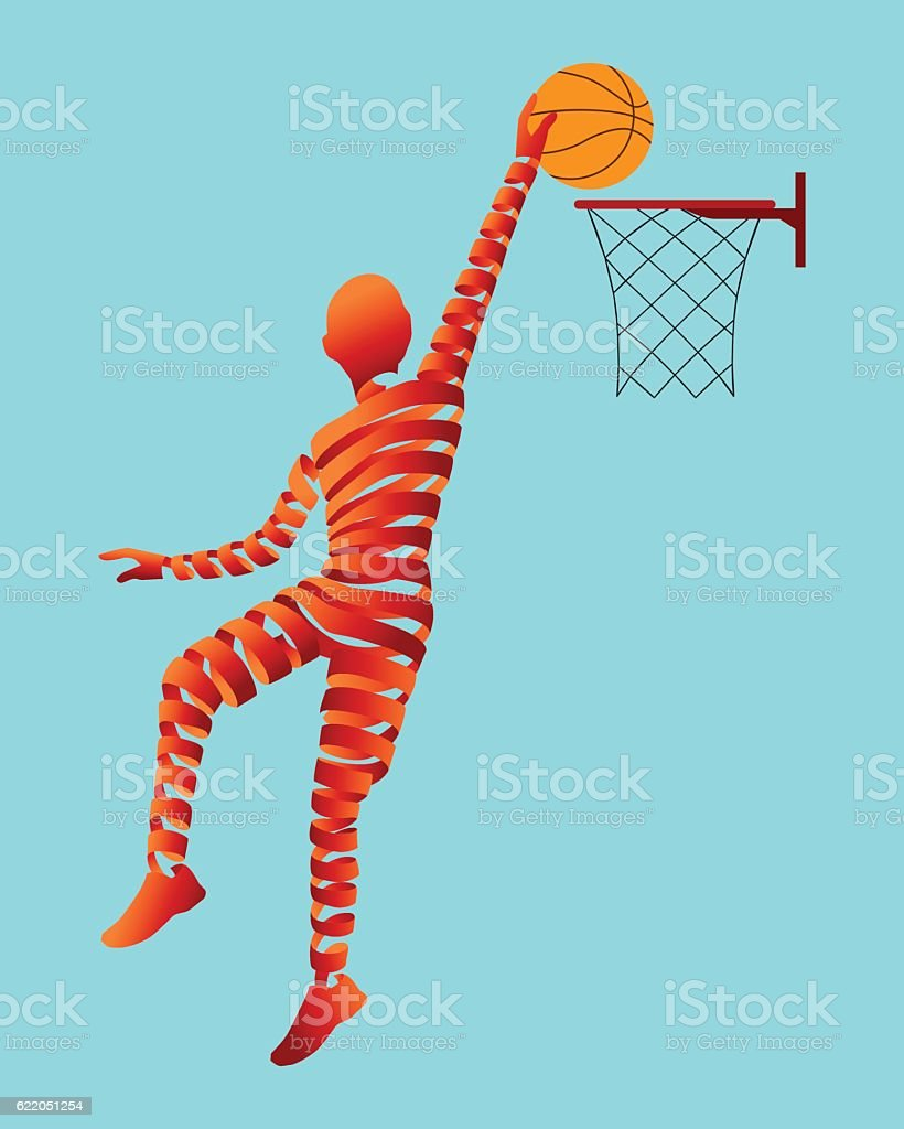 Abstract ribbon shaped with basketball player. vector art illustration