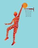 Abstract ribbon shaped with basketball player.