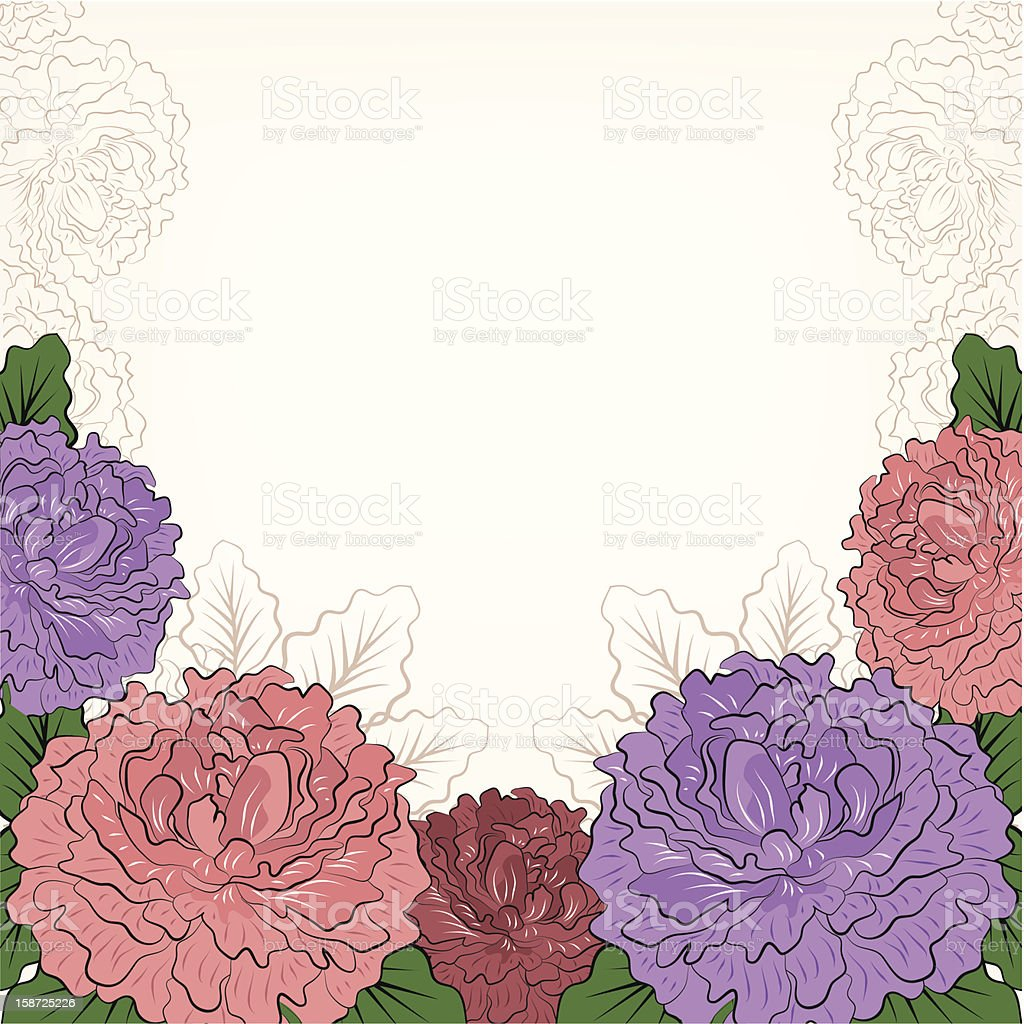 Abstract romantic background with peonies royalty-free stock vector art