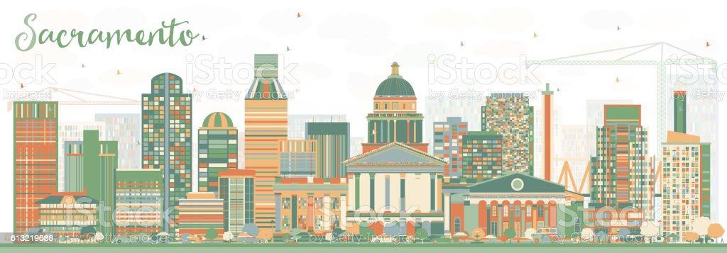 Abstract Sacramento Skyline with Color Buildings. vector art illustration