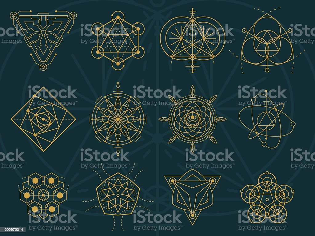 Abstract Sacred Geometry and Magic Symbols Set 5 vector art illustration