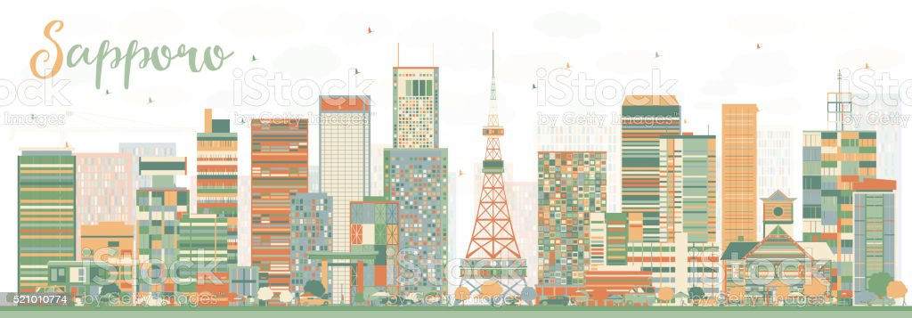 Abstract Sapporo Skyline with Color Buildings. vector art illustration
