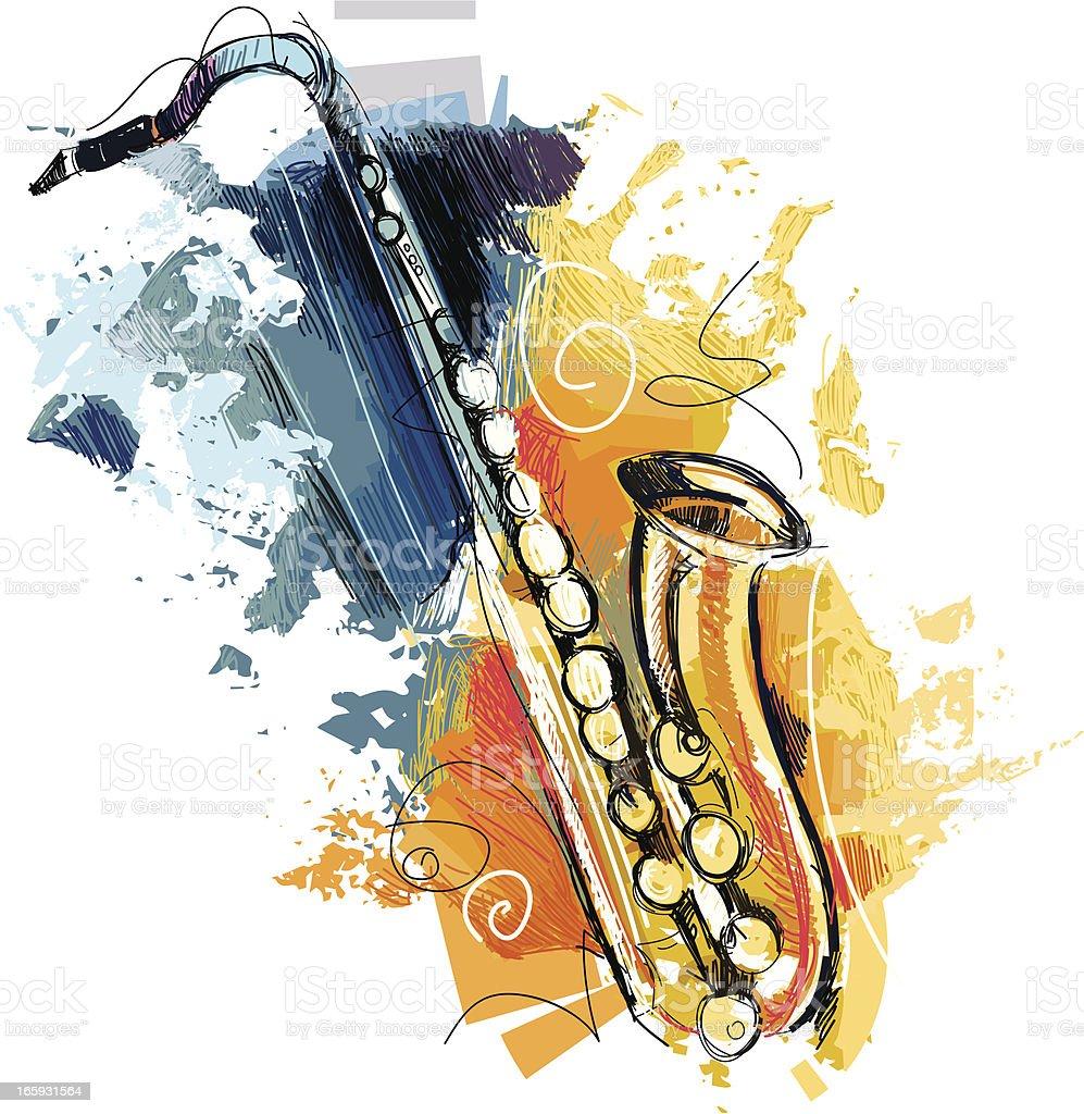 abstract saxophone vector art illustration