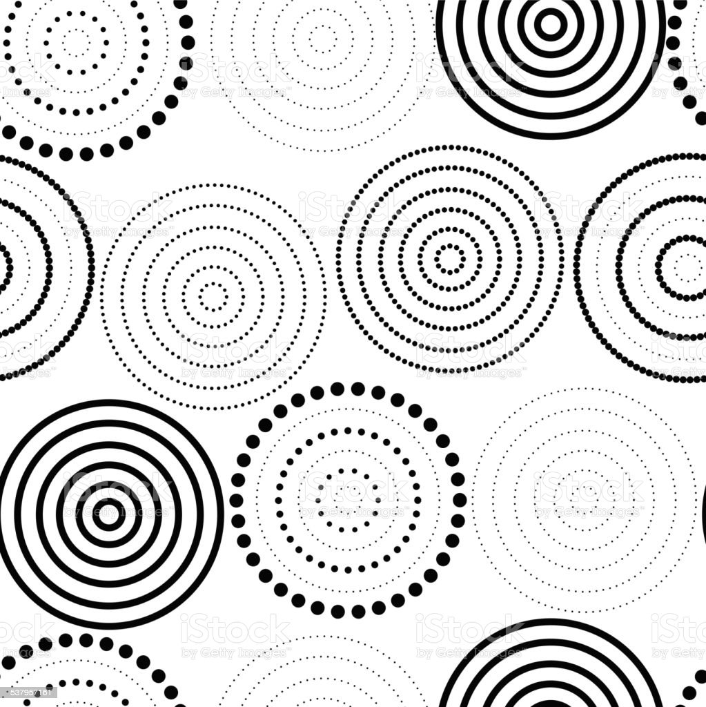 Abstract seamless background made of rings vector art illustration