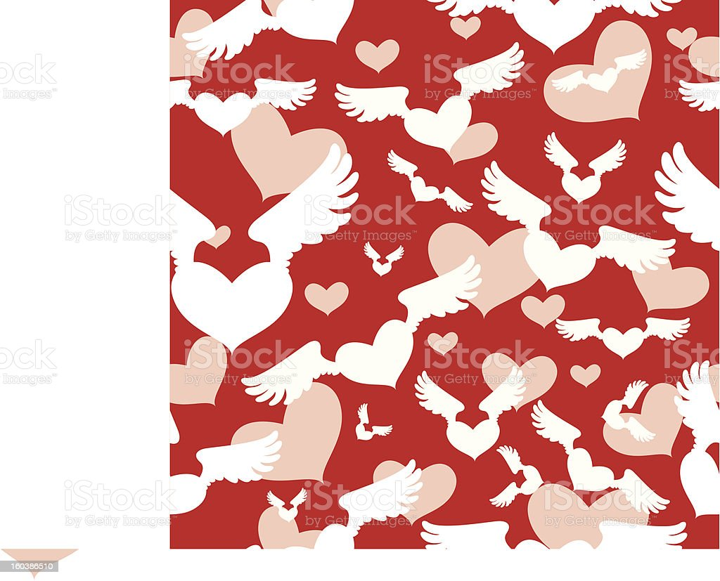 abstract seamless background with winged Heart royalty-free stock vector art