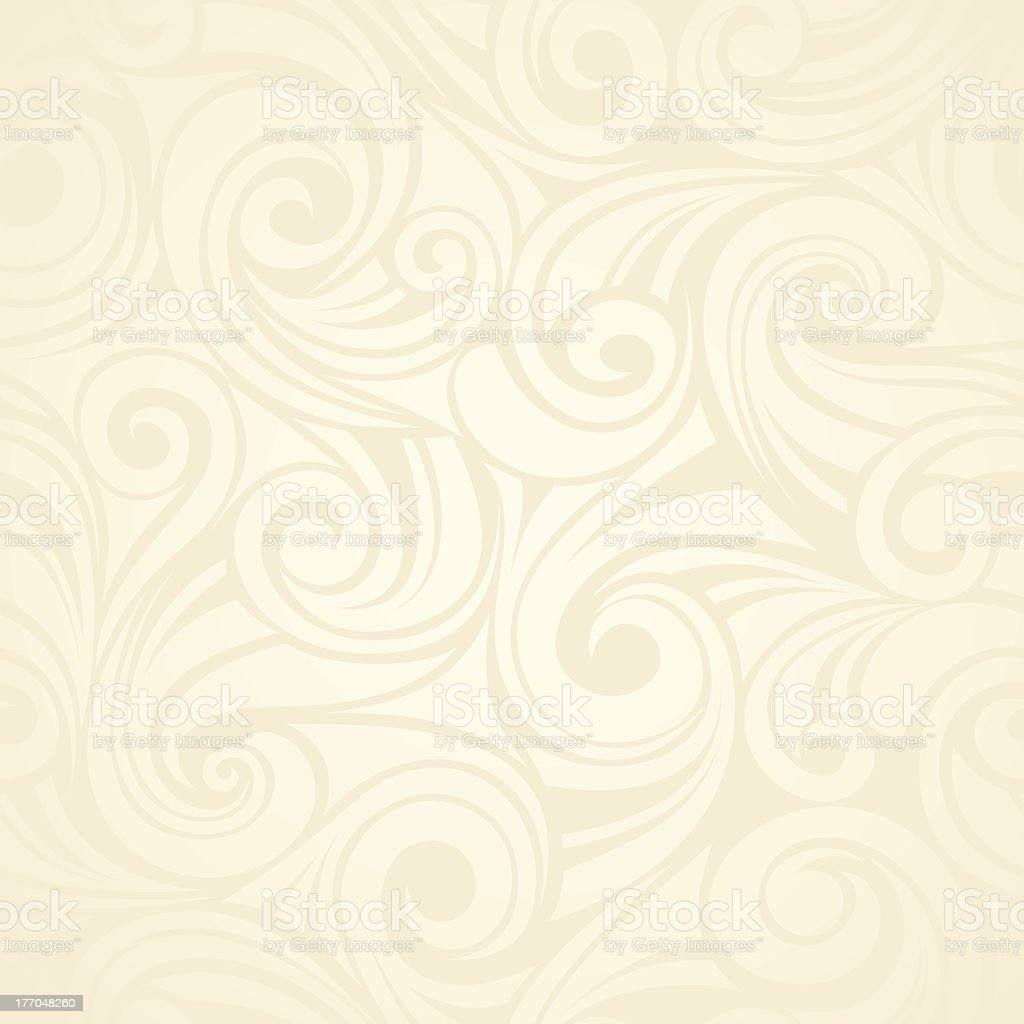 Abstract seamless beige background with swirled designs vector art illustration