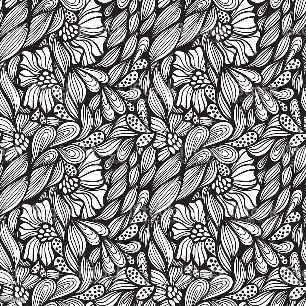 Abstract seamless floral pattern vector art illustration
