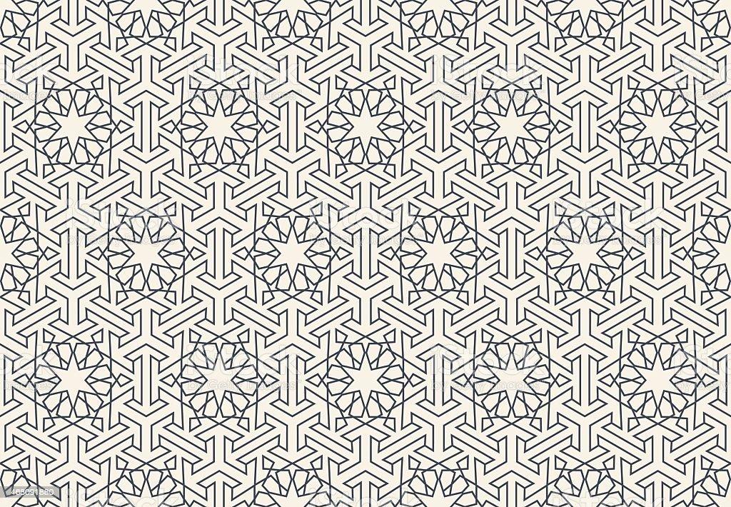 Abstract seamless geometric islamic wallpaper pattern vector art illustration