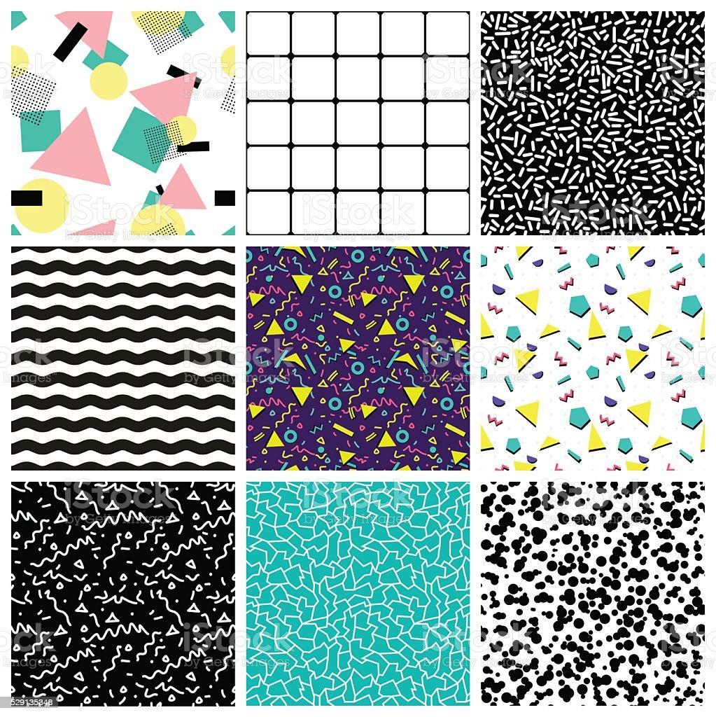Abstract seamless geometric patterns. 80's-90's styles. vector art illustration