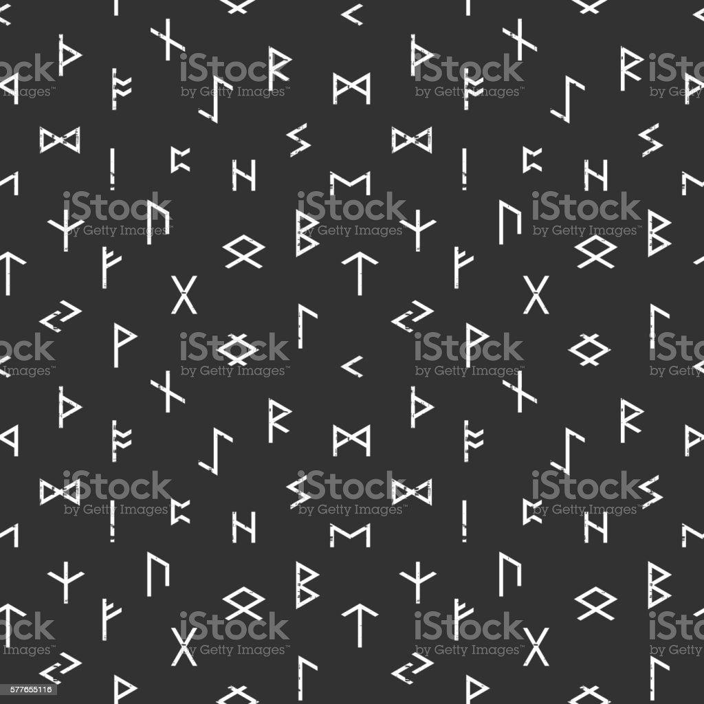 Abstract seamless grunge pattern of Elder Futhark vector art illustration