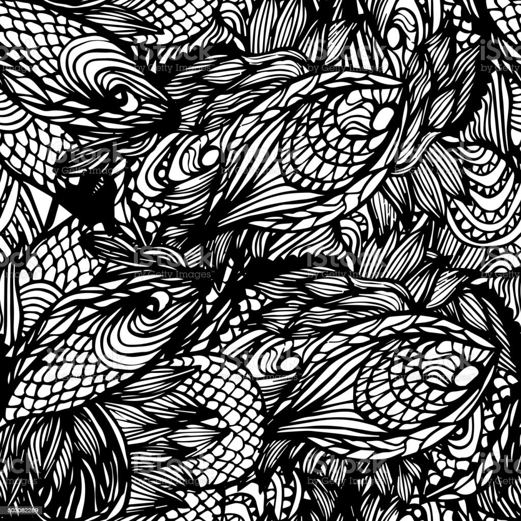 Abstract seamless hand-drawn pattern. vector art illustration