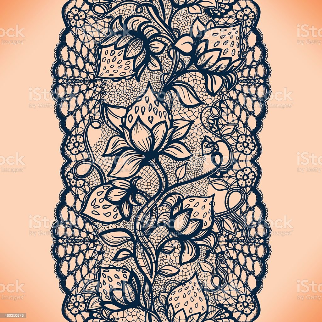 Abstract seamless lace pattern with flowers, leaves and strawberry. vector art illustration