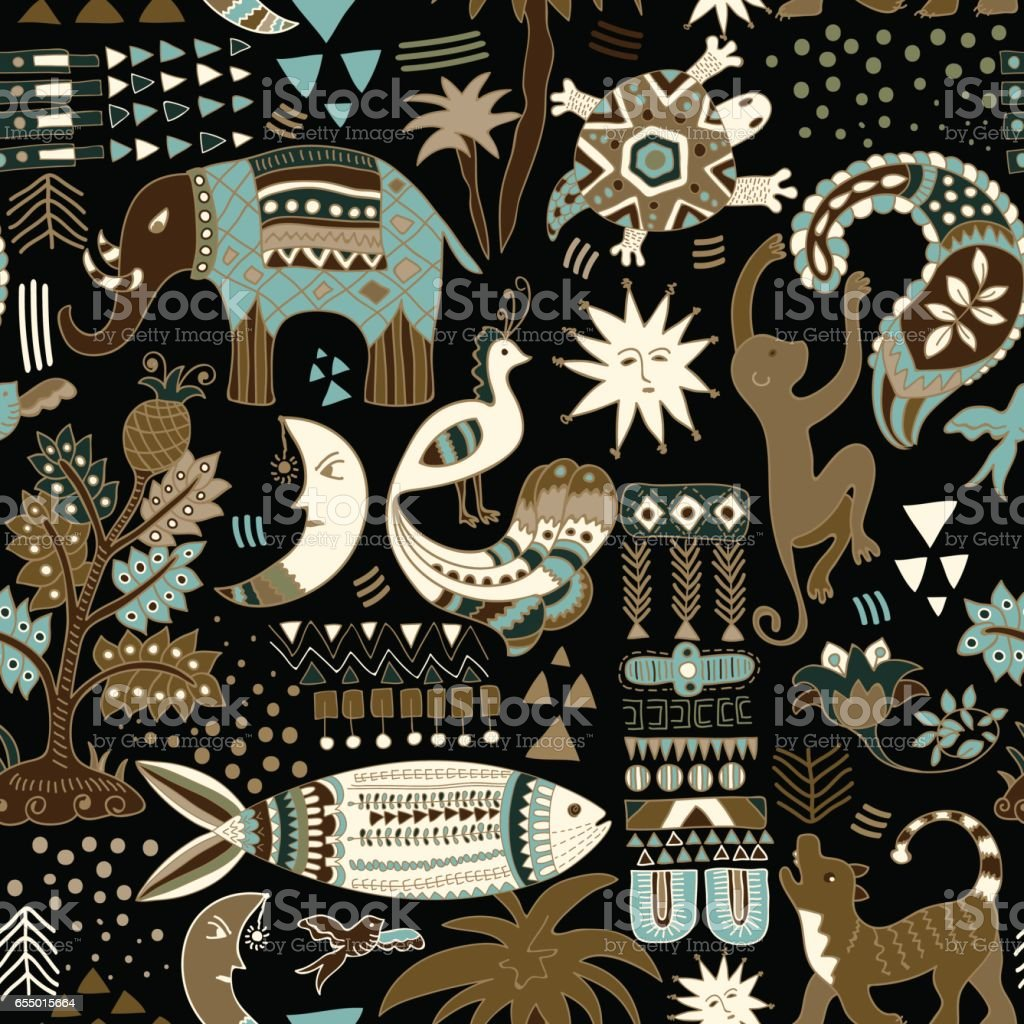 Abstract seamless pattern. Colorful tropic background. Hand drawn backdrop with decorative animals and geometric elements vector art illustration