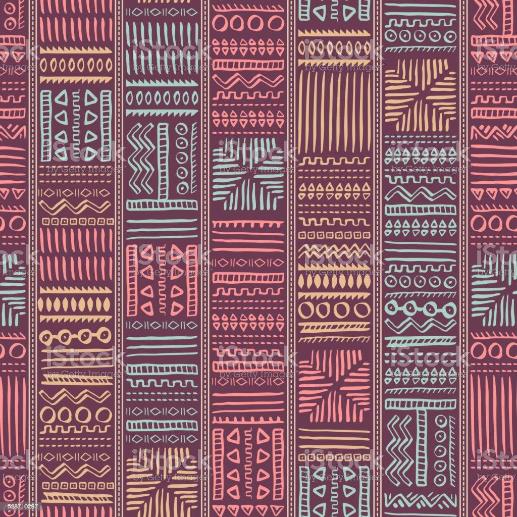 Abstract Seamless Pattern in Ethnic Style vector art illustration