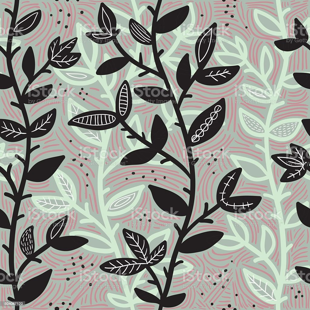 Abstract Seamless Pattern With Branches vector art illustration