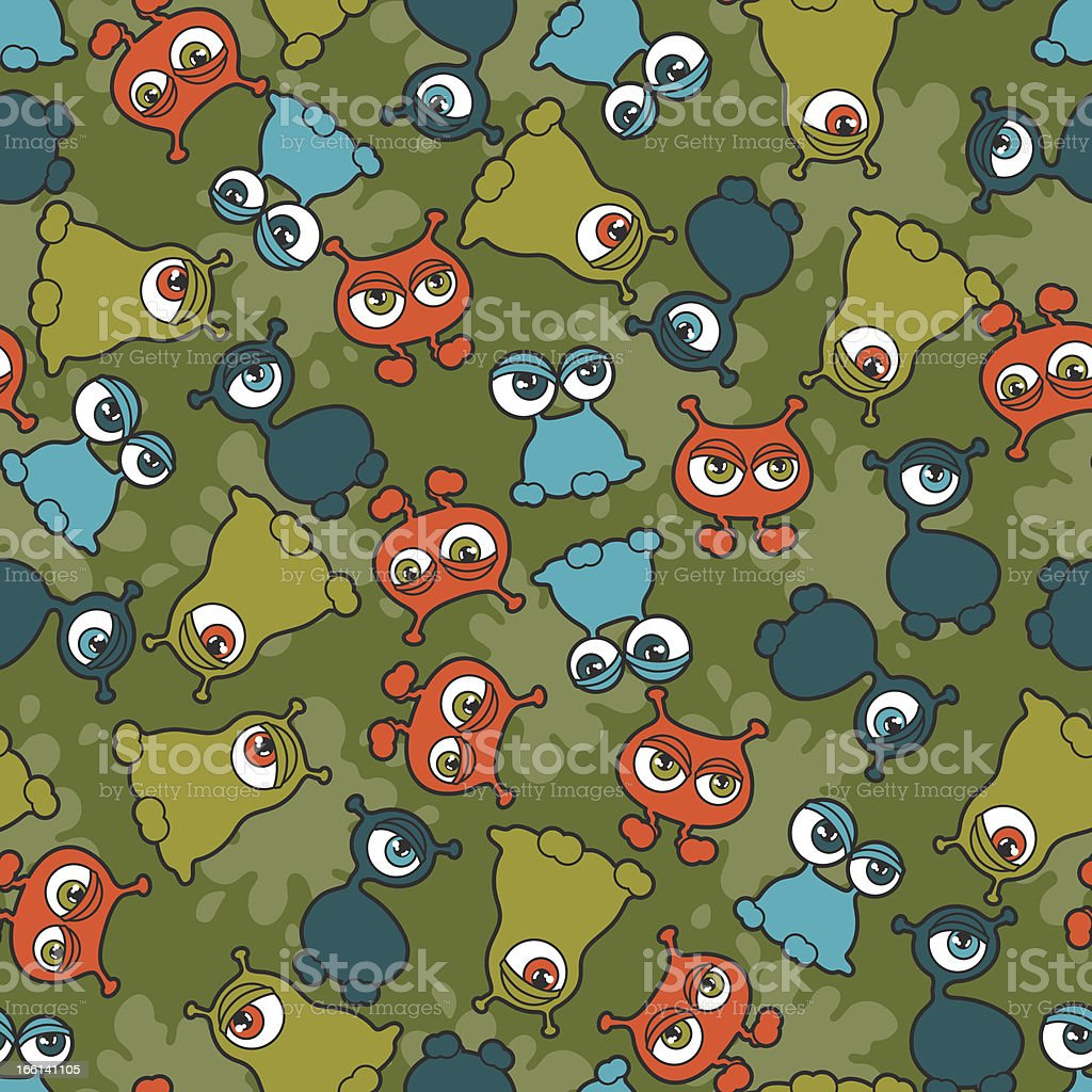 Abstract seamless pattern with cute monsters. royalty-free stock vector art