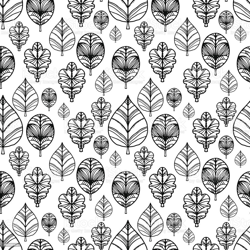 Abstract seamless pattern with leaves in black and white vector art illustration