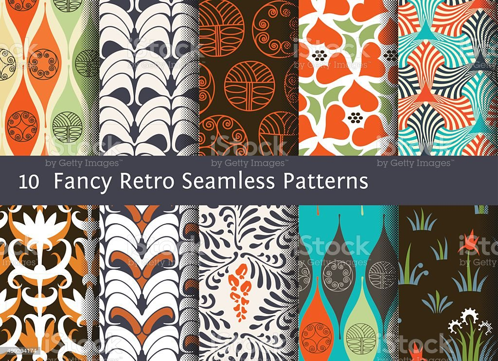 Abstract seamless patterns. Geometrical and floral ornamental motifs. Retro style vector art illustration