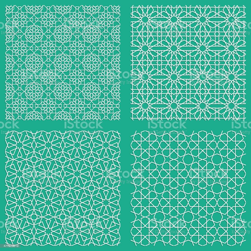 Abstract seamless traditional Arabian patterns in blue vector art illustration